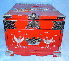 "JEWELRY BOX RED LACQUER MOTHER OF PEARL INLAY DRAWER HIDDEN MIRROR BIRD 9"" X 13"""