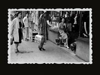 1950s Vintage Hong Kong Photo B&W Antique Shop British Colony Shopping Women 523