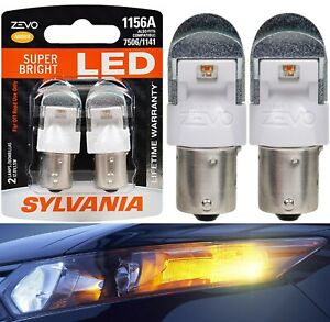 Sylvania ZEVO LED Light 1156 Amber Orange Two Bulbs Stop Brake Rear Show Color