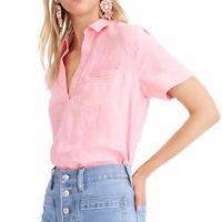 J Crew womens XS 100% Linen Popover Beauchamps Top Pink