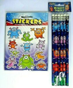 6 /12 MONSTER PENCILS & STICKERS KIDS CHILDRENS HALLOWEEN PARTY BAG FILLERS