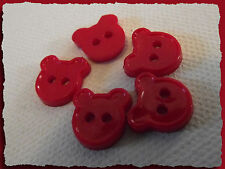 7 BOUTONS Ours rouge 12 mm 1,2 cm * 2 trous * red Button sewing lot couture