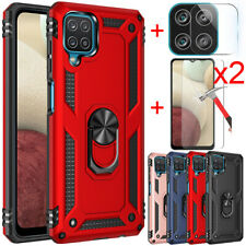 For Samsung Galaxy A12 Case Ring Stand Armor Cover+Tempered Glass+Lens Protector