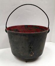 Vintage Chippy Paint Cast Iron Cauldron/Planter (G5949)