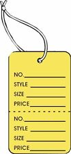 Garment Tag Small Yellow Color With String 1000 Tags Pack 125 X 1875