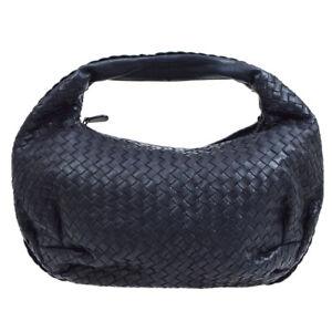 Bottega Veneta Intrecciato Hobo Hand Bag 232499 V0016 4066 Navy Leather 50308