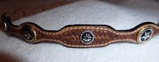 Light Brown scalloped leather Hatband w/ silver conchos New!