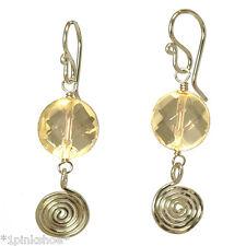 Sicily 274 ~Lemon Quartz & Swirl Earrings with Metal Choice