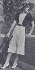 Vintage Knitting PATTERN to make One Piece Dress Two Tone Vest Front 30s Strand