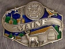 Pewter Belt Buckle State of Maine colored NEW