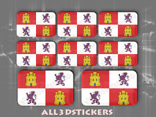 8 x Pegatinas 3D Relieve Bandera Castilla y Leon - Todas las Banderas del MUNDO
