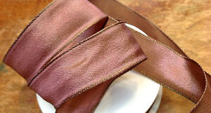 """Vintage French Viscose Rayon Ribbon 7/8"""" wire edge 1yd Made in France"""