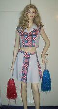 Ladies Cheerleader Fancy Dress Costume & Pom Poms Size 10 Used***