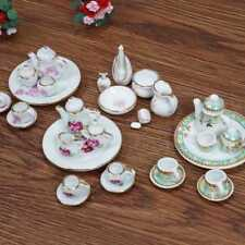 Set of 15 Doll House Mini Rose Design Ceramic Tea Set Dish Cup Plate 1:12