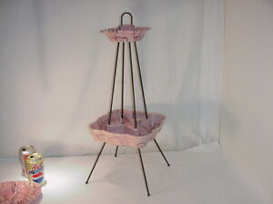 VINTAGE PINK HULL POTTERY SPLATTER WARE ASHTRAY STAND #1