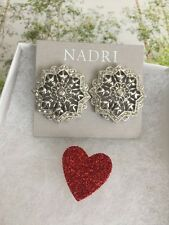 """Nadri earrings 1.4"""" Rhodium plated Clear CZ crystals Very Good Gift! Clip NEW"""