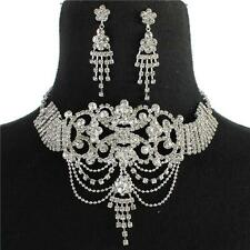 """16"""" silver crystal drape choker necklace 2"""" earrings bridal prom victorian"""