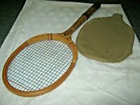 A Vintage Wooden Oliver Aristoc Tournament Tennis Racquet with Canvas Head Cover