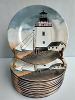 "(12) Sakura Melamine 8.5"" Plates Lighthouse By The Sea David Carter Brown"