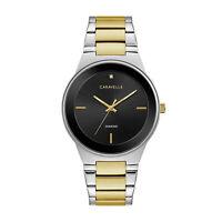 Caravelle Men's Quartz Diamond Accent Black Dial Two-Tone Band 40mm Watch 45D107