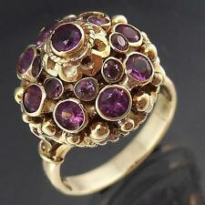 Bold Dramatic Tiered 17 AMETHYST 12k Solid YELLOW GOLD COCKTAIL RING Sz M1/2