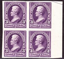 US 253P5 3c Jackson Proof on Stamp Paper Block of 4 Unused VF NG SCV $625