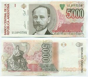 ARGENTINA NOTE 5000 AUSTRALES (1989) DE PAUL-G.FRAGA B# 2865 SUFFIX A P 330b UNC