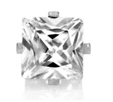 1pc Mens Boys Silver Square Crystal Magnetic Earrings Non Piercing Clip on 6mm