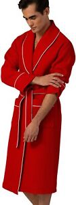 Men's Waffle Robe with Piping – Lightweight Cotton, Full Length Robe, Ultra Soft