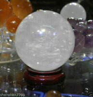 NATURAL CLEAR QUARTZ CRYSTAL SPHERE BALL HEALING GEMSTONE 60-200MM + FREE STAND