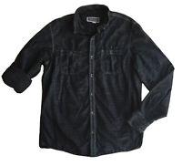 INC International Concepts Black Gray Pinstripe Button Long Sleeve Shirt Small