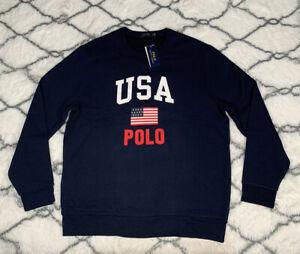 POLO Ralph Lauren USA Flag Spellout Navy Blue Fleece Sweatshirt Sz XL *NEW* RARE