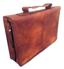 Genuine Leather Vintage Rustic Classic Bible Book Cover Back Pocket Brown