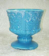 VINTAGE BLUE DAISY FLORAL DRIP GLAZE POTTERY ROUND PEDESTAL PLANTER FLOWER POT