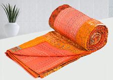 "Cotton Kantha Quilt, Mandala Printed Kantha Blanket Bedspread Quilt, 90""X108"" A"