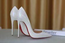 NEW CHRISTIAN LOUBOUTIN So Kate 120 Patent White AB Heels Pump Shoe SS17 EU37