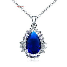 Antique White Gold Filled Crystal Blue Sapphire Teardrop Necklace N104