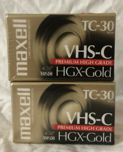 Lot of 2 Maxell VHS-C TC-30 HGX-Gold Premium High Grade Video Tapes NEW SEALED