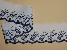 """5 METRES Quality White and Navy Blue Broderie Anglaise Lace Trim 2""""/5cm"""