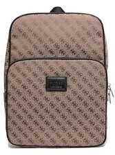 Guess Dan logo Front pocket Mens Canvas Backpacks In Brown