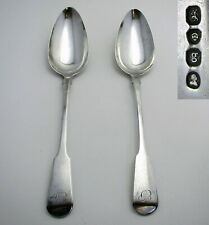 Large PAIR Georgian 1822 Sterling Silver English Antique Table/Serving Spoons EP