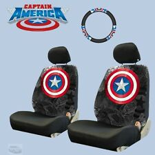 New Car Seat and Steering Wheel Cover Marvel Comic Captain America for FORD