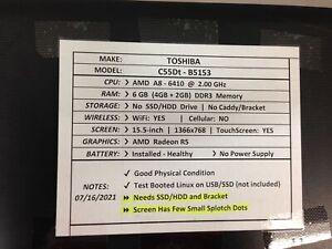 Toshiba C55Dt-B5153 *Parts/Repair* A8/6GB/BATT - No OS/HDD/CHRG