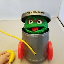 Fisher-Price Oscar Grouch #177 Sesame Street Muppets Pop Up Pull Toy 1977 Works
