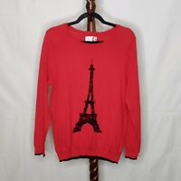 NWT Elle womens L pullover flocked sweater red color scoop neck long sleeve logo
