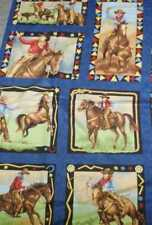 King of the Ranch cowboys retro western panel denim blue fabric