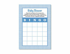24 Baby Shower Boy Blue  Plaid Bingo Game Cards 5x7