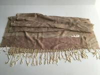 Pashmina Scarf Shawl Wrap Stole Taupe / White Neutral Paisely Pattern SILK SOFT!