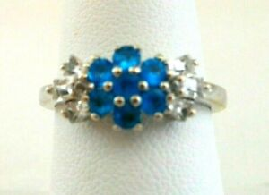 GENUINE NEON APATITE AND WHITE TOPAZ RING Platinum over Sterling SIlver Size 7