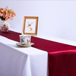 1Pc 30 X 275 Cm Table Decoration Satin Table Runners Solid Color Wedding Party